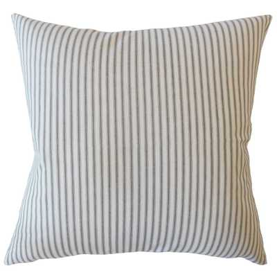 "Ticking Stripe Pillow, Navy, 22"" x 22"" - Havenly Essentials"
