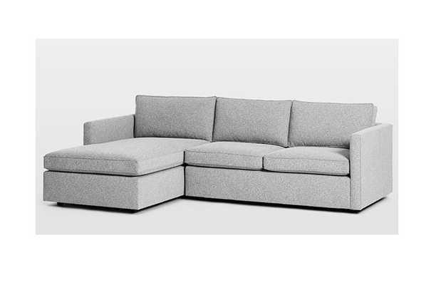 "Harris 2-Piece Chaise Sectional w/ Storage, Left 2-piece chaise sectional, large 110"", chenille tweed, Irongate - West Elm"