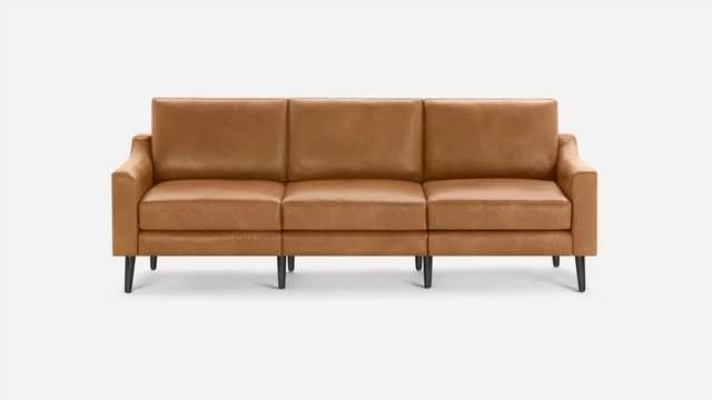 Burrow Brown Leather Sofa, 3 Seater, Low Arms, Black Wood Legs   Nomad Collection - Burrow