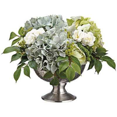 "Hydrangeas, Ranunculus, Sedum 17"" Wide Faux Flowers in Pot - - Lamps Plus"
