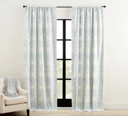 "Margot Scroll Print Rod Pocket Curtain, 50 x 108"", Blue - Pottery Barn"