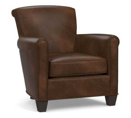 Irving Leather Armchair, Polyester Wrapped Cushions, Leather Vintage Cocoa - Pottery Barn