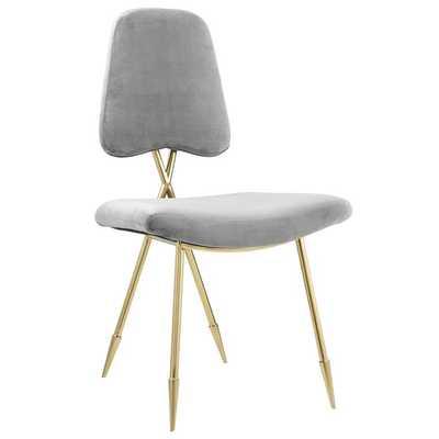 Ponder Upholstered Velvet Dining Chair in Gray - Modway Furniture