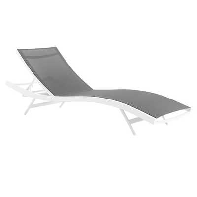 GLIMPSE OUTDOOR PATIO MESH CHAISE LOUNGE CHAIR IN WHITE GRAY - Modway Furniture