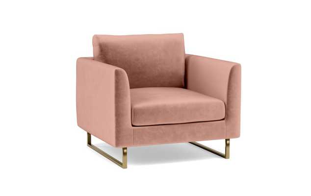 Owens Accent Chair with Pink Blush Fabric with Matte Brass Outline Leg - Interior Define