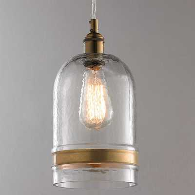 BANDED BRASS WATER GLASS DOME PENDANT - Shades of Light