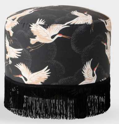 Cloth & Company Crane Flight Ink Simone Ottoman with Fringe by World Market - World Market/Cost Plus