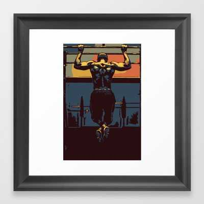 Pull ups in the gym Framed Art Print - Society6