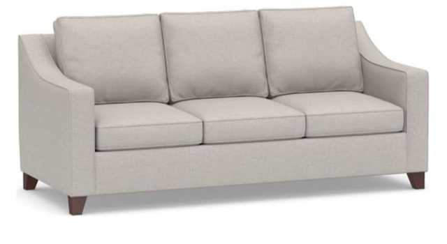 "Cameron Slope Arm Upholstered Sofa 3-Seater 85"", Polyester Wrapped Cushions, Heathered Twill Stone - Pottery Barn"