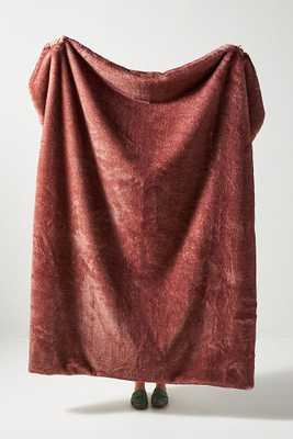 Aleksi Faux Fur Throw Blanket By Anthropologie in Mauve - Anthropologie