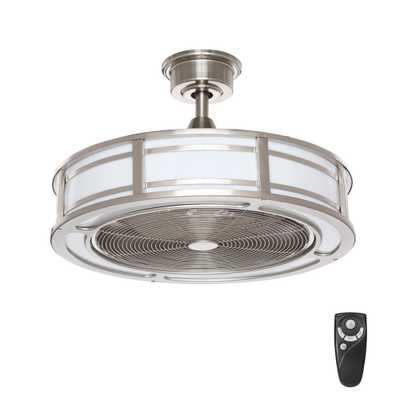Brette 23 in. LED Indoor/Outdoor Brushed Nickel Ceiling Fan with Light Kit with Remote Control - Home Depot