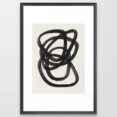 Mid Century Modern Minimalist Abstract Art Brush Strokes Black & White Ink Art Spiral Circles Framed Art Print by EnShape 26 x 38 - Society6