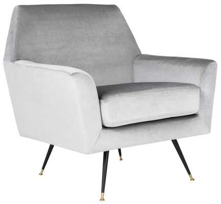 Nynette Velvet Retro Mid Century Accent Chair -  Light Grey - Arlo Home - Arlo Home