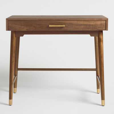 Brown and Gold Walnut Zola Desk by World Market - World Market/Cost Plus