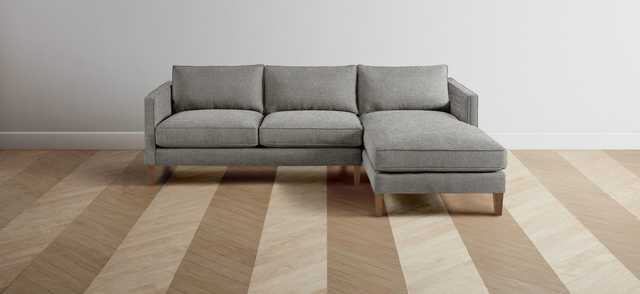 """The Crosby Chaise Sectional, Right Chaise, Granite, Washed Oak, 101"""" - Maiden Home"""