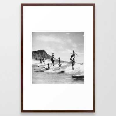 Vintage Hawaii Tandem Surfing Framed Art Print - Society6