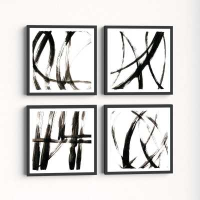 'Linear Expression Quadriptych' - 4 Piece Picture Frame Print Set on Paper - AllModern