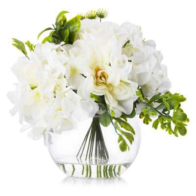 Cream Hydrangea Rose And Peony Mixed Silk Flower In Round Clear Glass Vase - Wayfair