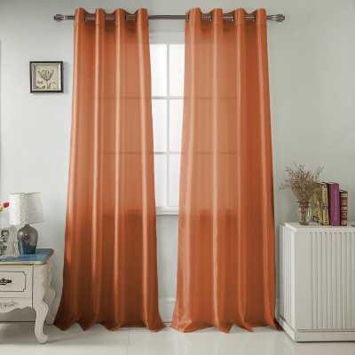 Mattingly Solid Semi-Sheer Grommet Faux Silk Single Curtain Panel - Wayfair