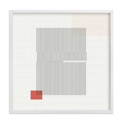 Folded lines- 16x16 white wood frame - Minted