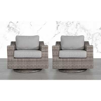 Laurene Club Swivel Patio Chair with Cushions (set of 2) - Wayfair