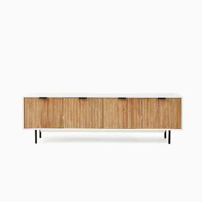 "Quinn Media Console, White and Antique Bronze, 80"" - West Elm"