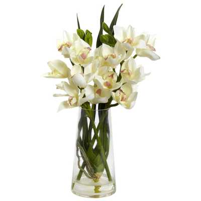 Cymbidium Orchid w/Vase - Fiddle + Bloom