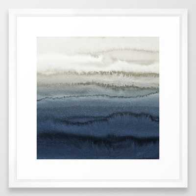 WITHIN THE TIDES - CRUSHING WAVES BLUE Framed Art Print - vector white - Society6