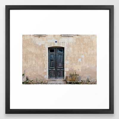 Old fashioned door Framed Art Print - Vector Black - 22 x 22 - Society6