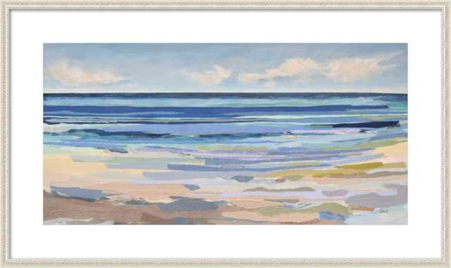 TIDAL STRIPES - 36 X 20 - Ornate Antique white wood frame - Artfully Walls