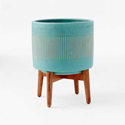 Turned Wood Leg Standing Planter, Wide, Turquoise - West Elm