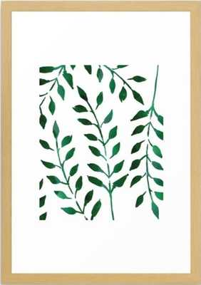 Minimalist Forest Green Leaves w/ Natural Frame - Society6