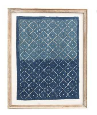Framed Blue Textile Art, Trellis Pattern - Pottery Barn