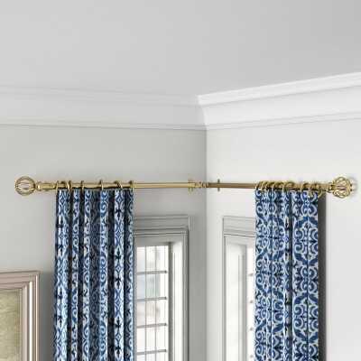 "48""- 84"" W Antique Brass Caden Corner Window Single Curtain Rod & Hardware Set - Wayfair"