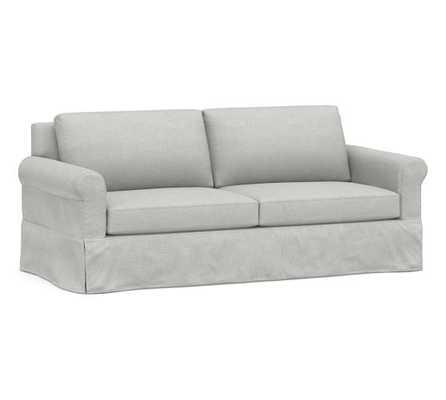 "York Roll Arm Slipcovered Sofa 82"", Down Blend Wrapped Cushions, Basketweave Slub Ash - Pottery Barn"