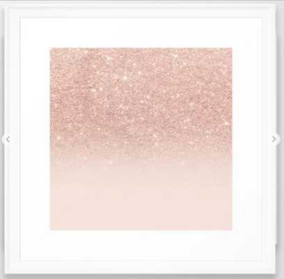 "Rose gold faux glitter pink ombre color block Framed Art Print - 22""x22"" - Society6"