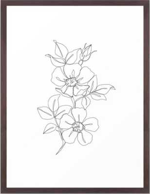 """Floral One Line Drawing, 20""""x26"""", Conservation Walnut Frame - Society6"""