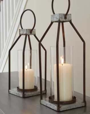 2 Piece Metal Lantern Set - Wayfair