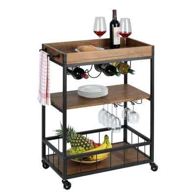 Aelia Kitchen Painted Metal Bar Cart - Wayfair