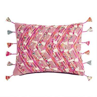 Rose Pink Embroidered Deja Lumbar Pillow With String Tassels - World Market/Cost Plus