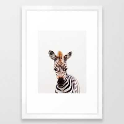 "Baby Zebra, Baby Animals Art Prints by Synplus Framed Art Print with Vector White Frame - 15""x21"" - Society6"
