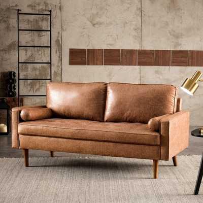 "Garzon 69.68"" Wide Leather Match Square Arm Loveseat - Wayfair"