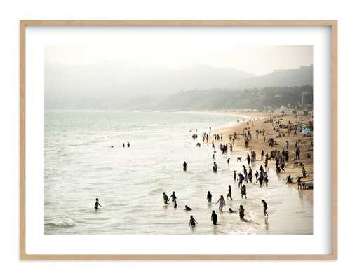 seaside contrast, natural raw wood frame, 40x30, white border - Minted