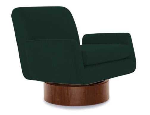 Green Bingham Mid Century Modern Swivel Chair - Royale Evergreen - Joybird