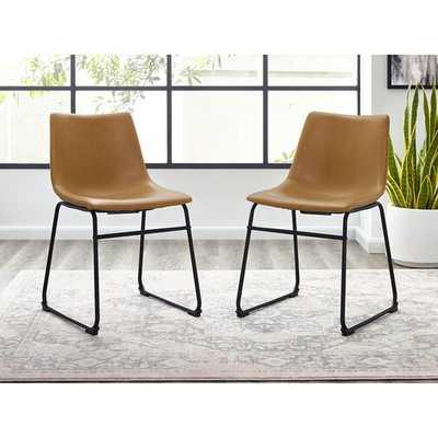 Aurik Upholstered Dining Chair ( set of 2 ) whiskey brown - AllModern