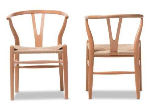 BAXTON STUDIO WISHBONE CHAIR -NATURAL WOOD Y  CHAIR - set of 2 - Lark Interiors