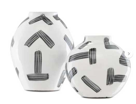 Currey & Company 2 Piece White/Black Terracotta Table Vase Set - Perigold