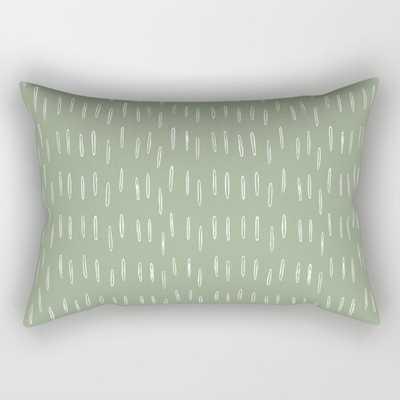 Raindrop Boho Abstract Pattern, Sage Green Rectangular Pillow - Society6