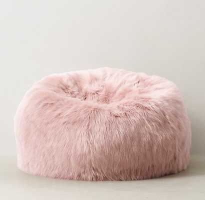 KASHMIR FAUX FUR BEAN BAG - DUSTY ROSE - RH Teen
