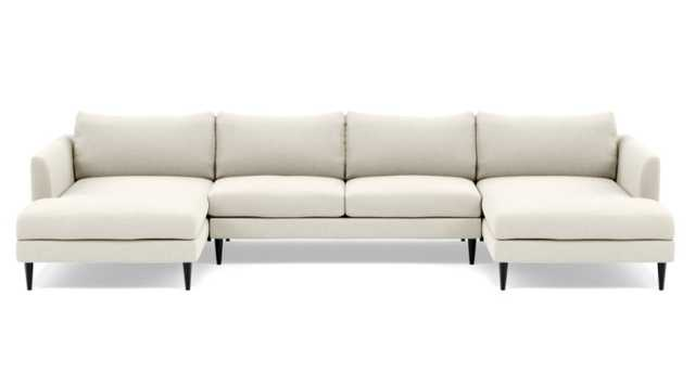 OWENS U-Sectional Sofa Unfinished Chalk Heathered Weave GunMetal Tapered Round Metal - Interior Define